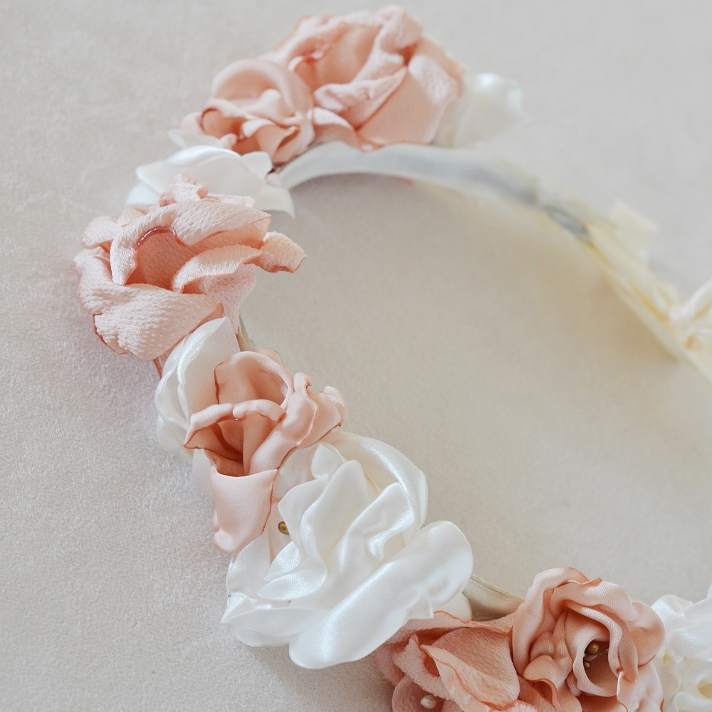 Couronne florale mariée Modèle Elisabeth roses anciennes Alice MARTY Créatrice mariage Albi Toulouse