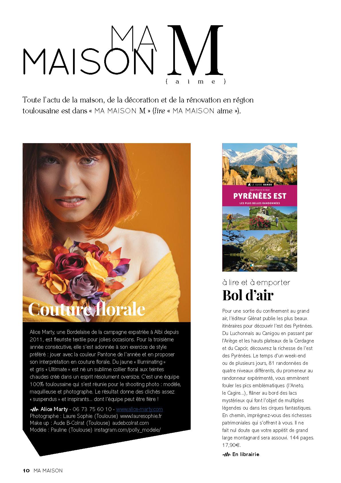 Pantone 2021 Magazine Ma Maison Toulouse Alice MARTY Créatrice d'accessoires mariage